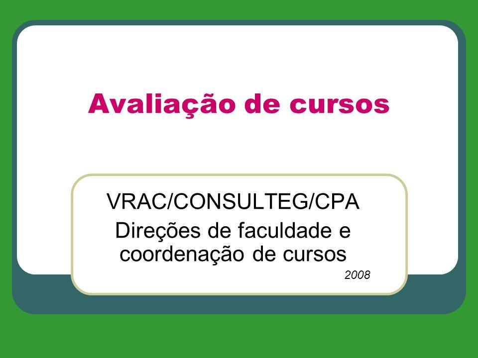 Avaliação de cursos VRAC/CONSULTEG/CPA Direções de faculdade e coordenação de cursos 2008