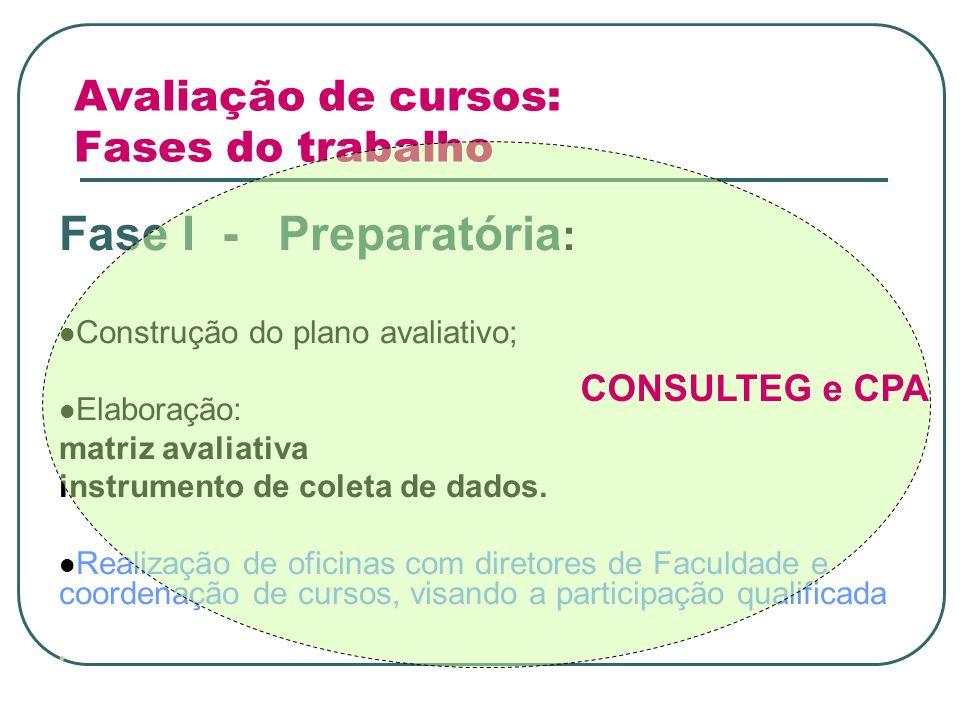 Avaliação de cursos: Fases do trabalho Fase I - Preparatória : Construção do plano avaliativo; Elaboração: matriz avaliativa instrumento de coleta de dados.