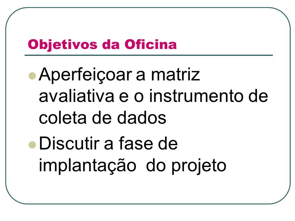 Objetivos da Oficina Aperfeiçoar a matriz avaliativa e o instrumento de coleta de dados Discutir a fase de implantação do projeto