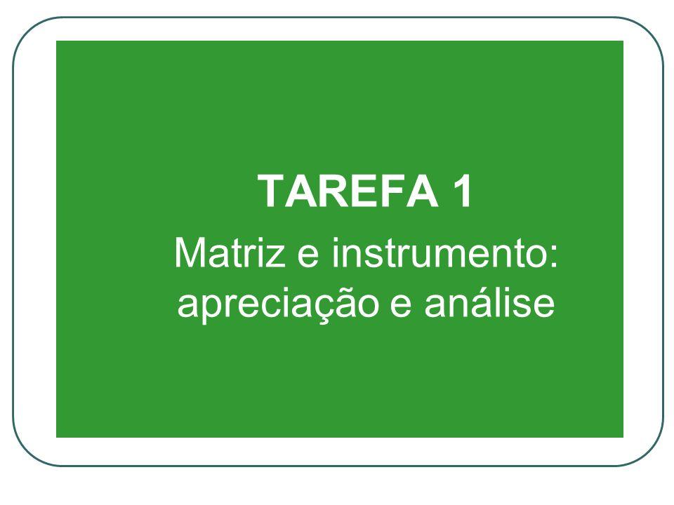 TAREFA 1 Matriz e instrumento: apreciação e análise