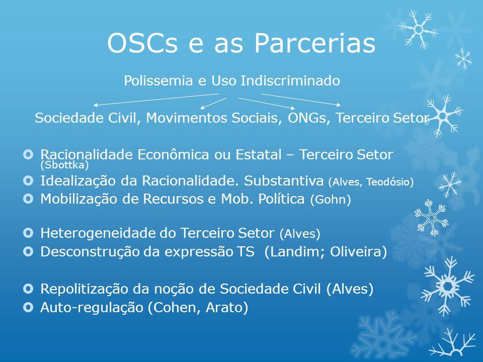 OSCs e as Parcerias Polissemia e Uso Indiscriminado Sociedade Civil, Movimentos Sociais, ONGs, Terceiro Setor Racionalidade Econômica ou Estatal – Ter