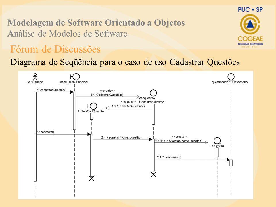 Fórum de Discussões Diagrama de Seqüência para o caso de uso Cadastrar Questões Modelagem de Software Orientado a Objetos Análise de Modelos de Softwa
