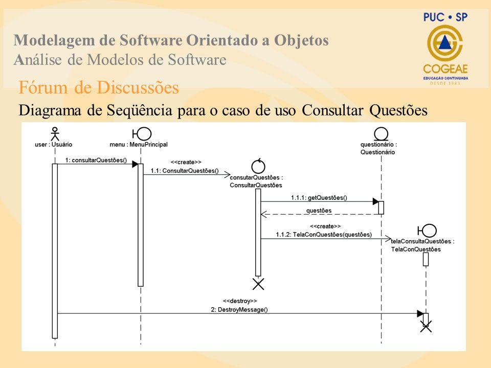 Fórum de Discussões Diagrama de Seqüência para o caso de uso Consultar Questões Modelagem de Software Orientado a Objetos Análise de Modelos de Softwa