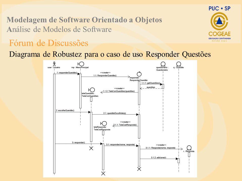 Fórum de Discussões Diagrama de Robustez para o caso de uso Responder Questões Modelagem de Software Orientado a Objetos Análise de Modelos de Softwar