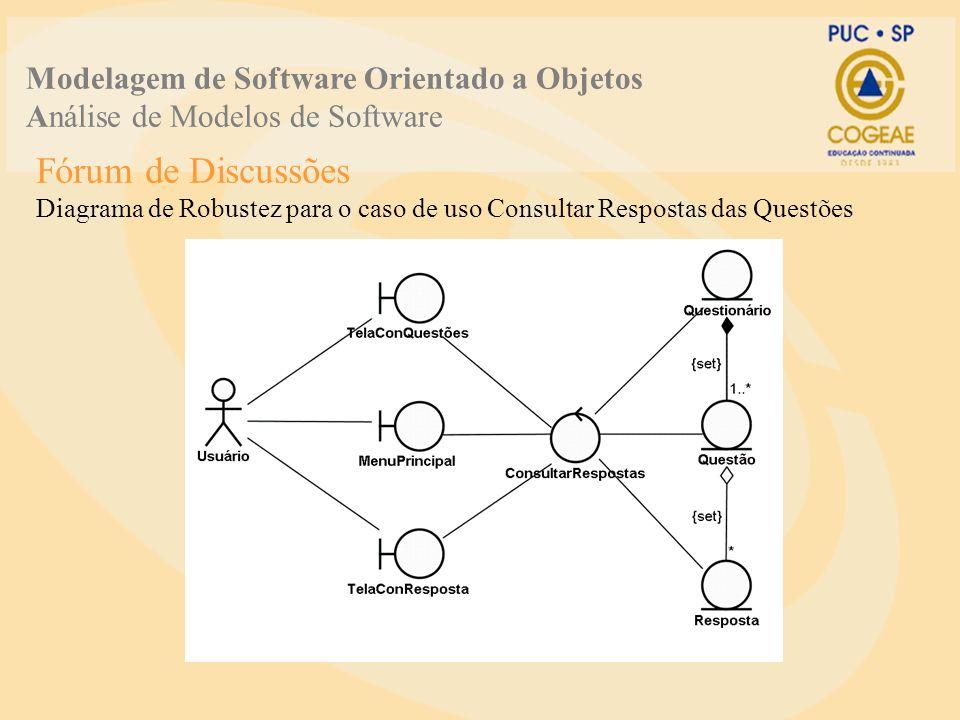 Fórum de Discussões Diagrama de Robustez para o caso de uso Consultar Respostas das Questões Modelagem de Software Orientado a Objetos Análise de Mode