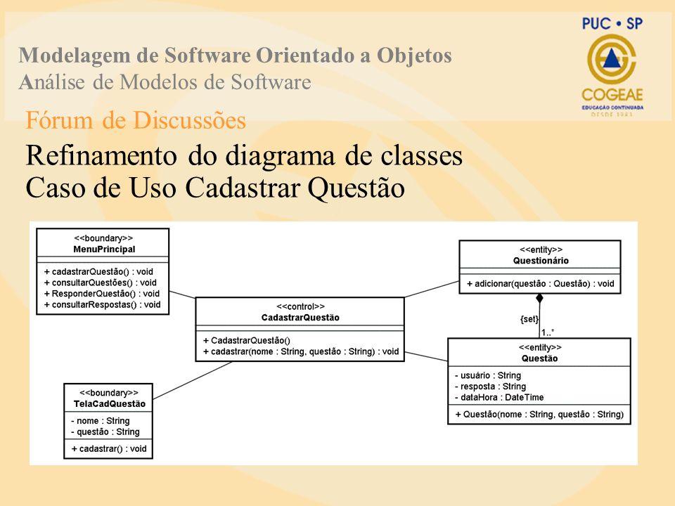 Fórum de Discussões Refinamento do diagrama de classes Caso de Uso Cadastrar Questão Modelagem de Software Orientado a Objetos Análise de Modelos de S