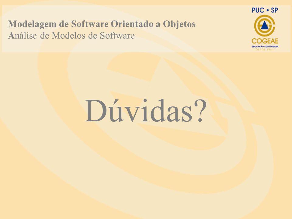 Dúvidas? Modelagem de Software Orientado a Objetos Análise de Modelos de Software