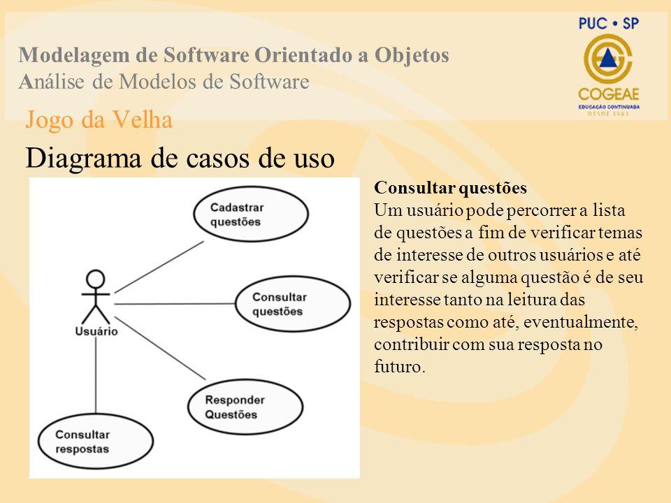 Jogo da Velha Diagrama de casos de uso Modelagem de Software Orientado a Objetos Análise de Modelos de Software Responder questões Um usuário pode registrar sua opinião a respeito de temas levantados por outros usuários do Fórum de Notícias.