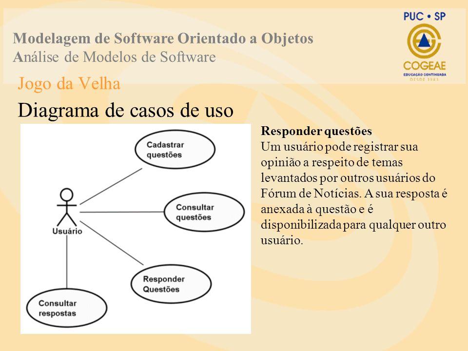 Jogo da Velha Diagrama de casos de uso Modelagem de Software Orientado a Objetos Análise de Modelos de Software Consultar respostas O usuário pode se interessar em ler as respostas de questões postadas ou não por ele.