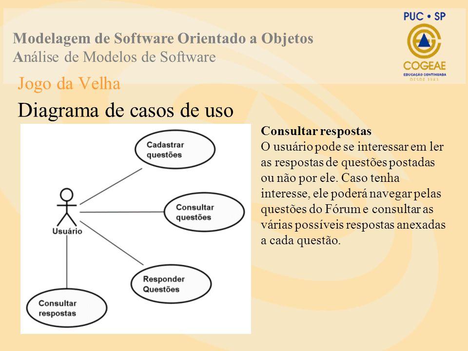Jogo da Velha Diagrama de casos de uso Modelagem de Software Orientado a Objetos Análise de Modelos de Software Consultar respostas O usuário pode se