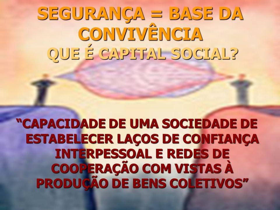 SEGURANÇA = BASE DA CONVIVÊNCIA QUE É CAPITAL SOCIAL? CAPACIDADE DE UMA SOCIEDADE DE ESTABELECER LAÇOS DE CONFIANÇA INTERPESSOAL E REDES DE COOPERAÇÃO