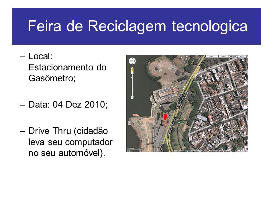 Feira de Reciclagem tecnologica –Local: Estacionamento do Gasômetro; –Data: 04 Dez 2010; –Drive Thru (cidadão leva seu computador no seu automóvel).