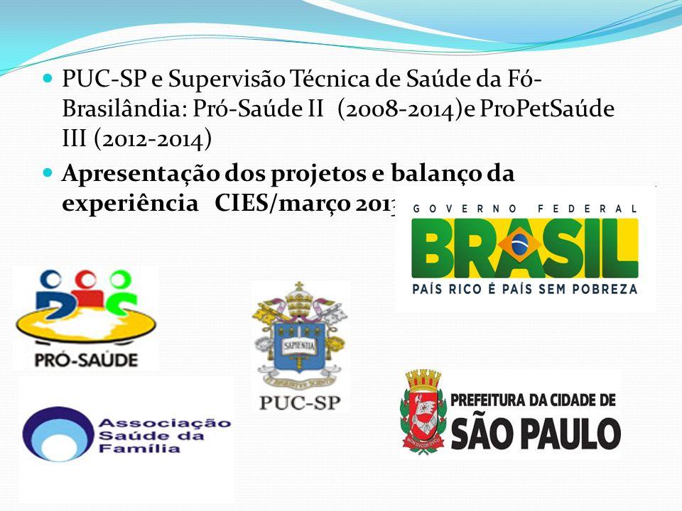 PUC-SP e Supervisão Técnica de Saúde da Fó- Brasilândia: Pró-Saúde II (2008-2014)e ProPetSaúde III (2012-2014) Apresentação dos projetos e balanço da