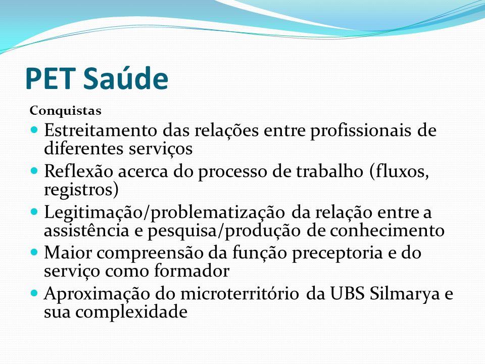 PET Saúde Conquistas Estreitamento das relações entre profissionais de diferentes serviços Reflexão acerca do processo de trabalho (fluxos, registros)