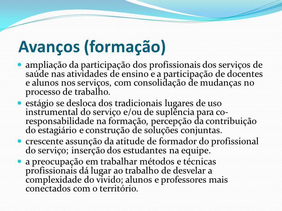 Avanços (formação) ampliação da participação dos profissionais dos serviços de saúde nas atividades de ensino e a participação de docentes e alunos no