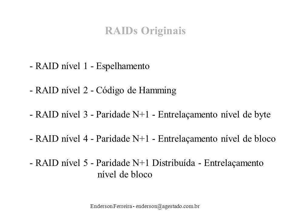 Enderson Ferreira - enderson@agestado.com.br RAIDs Originais - RAID nível 1 - Espelhamento - RAID nível 2 - Código de Hamming - RAID nível 3 - Paridad