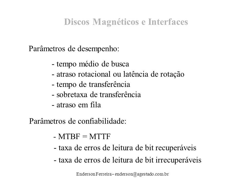 Enderson Ferreira - enderson@agestado.com.br Discos Magnéticos e Interfaces Parâmetros de desempenho: - tempo médio de busca - atraso rotacional ou la