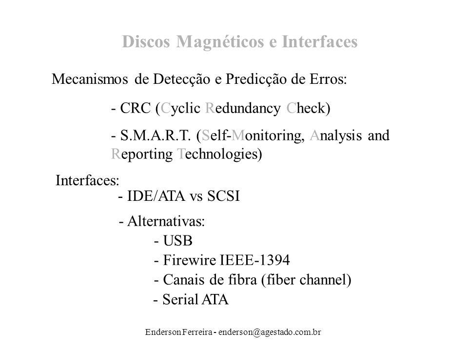 Enderson Ferreira - enderson@agestado.com.br Discos Magnéticos e Interfaces Mecanismos de Detecção e Predicção de Erros: - CRC (Cyclic Redundancy Chec