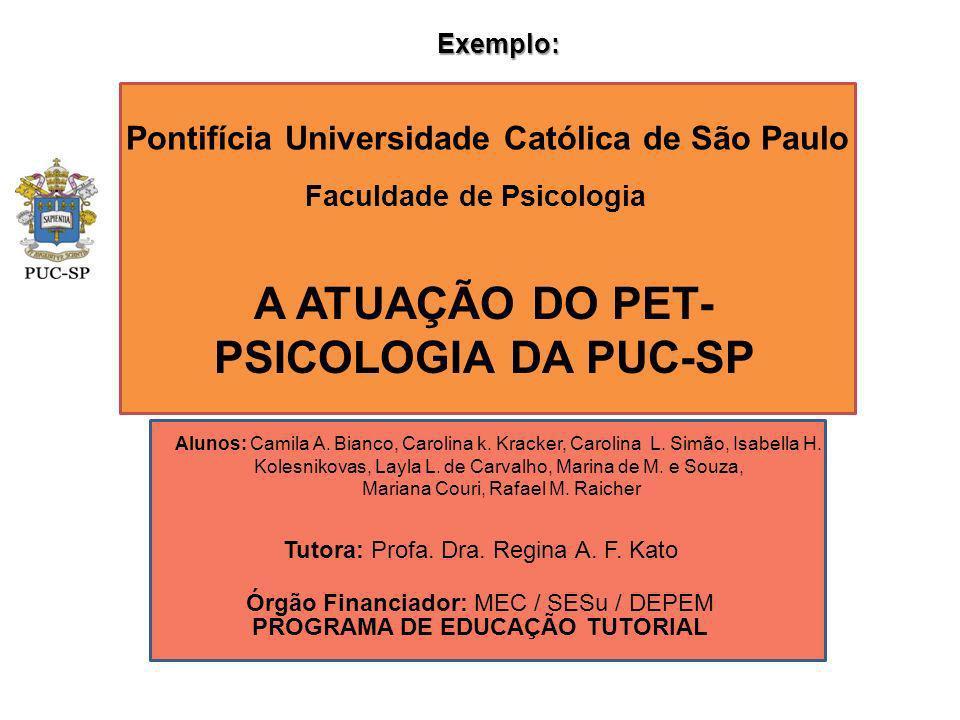 Pontifícia Universidade Católica de São Paulo Faculdade de Psicologia A ATUAÇÃO DO PET- PSICOLOGIA DA PUC-SP Órgão Financiador: MEC / SESu / DEPEM PRO