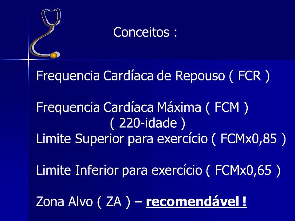Conceitos : Frequencia Cardíaca de Repouso ( FCR ) Frequencia Cardíaca Máxima ( FCM ) ( 220-idade ) Limite Superior para exercício ( FCMx0,85 ) Limite
