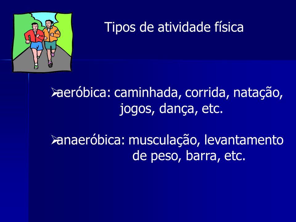 Tipos de atividade física aeróbica: caminhada, corrida, natação, jogos, dança, etc. anaeróbica: musculação, levantamento de peso, barra, etc.