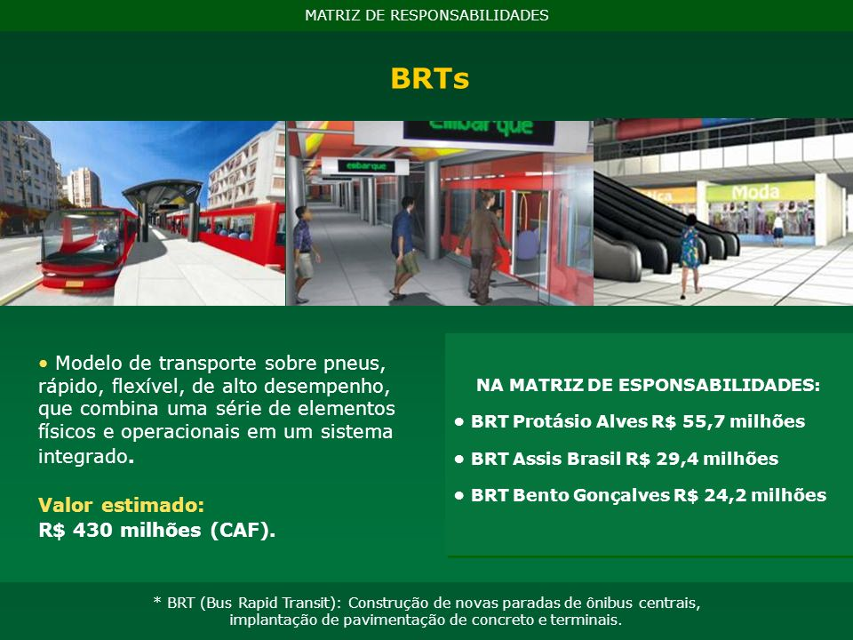 NA MATRIZ DE ESPONSABILIDADES: BRT Protásio Alves R$ 55,7 milhões BRT Assis Brasil R$ 29,4 milhões BRT Bento Gonçalves R$ 24,2 milhões BRTs MATRIZ DE