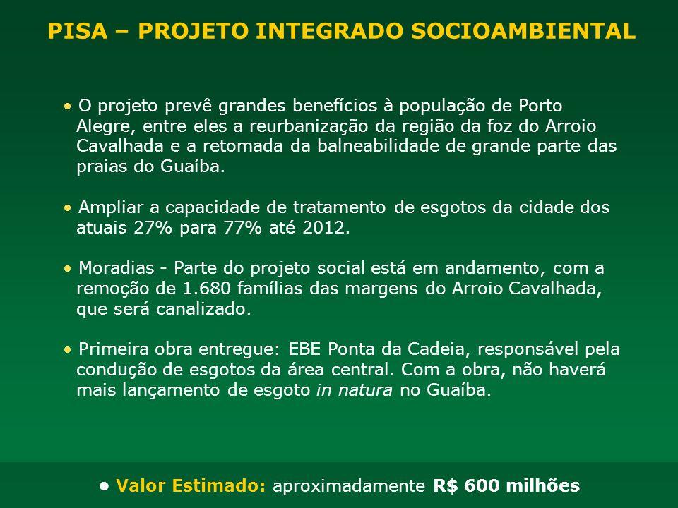 O projeto prevê grandes benefícios à população de Porto Alegre, entre eles a reurbanização da região da foz do Arroio Cavalhada e a retomada da balnea