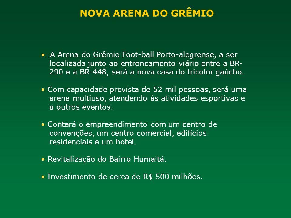 A Arena do Grêmio Foot-ball Porto-alegrense, a ser localizada junto ao entroncamento viário entre a BR- 290 e a BR-448, será a nova casa do tricolor g