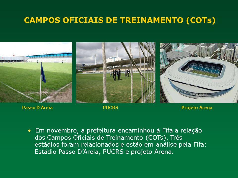 Em novembro, a prefeitura encaminhou à Fifa a relação dos Campos Oficiais de Treinamento (COTs). Três estádios foram relacionados e estão em análise p