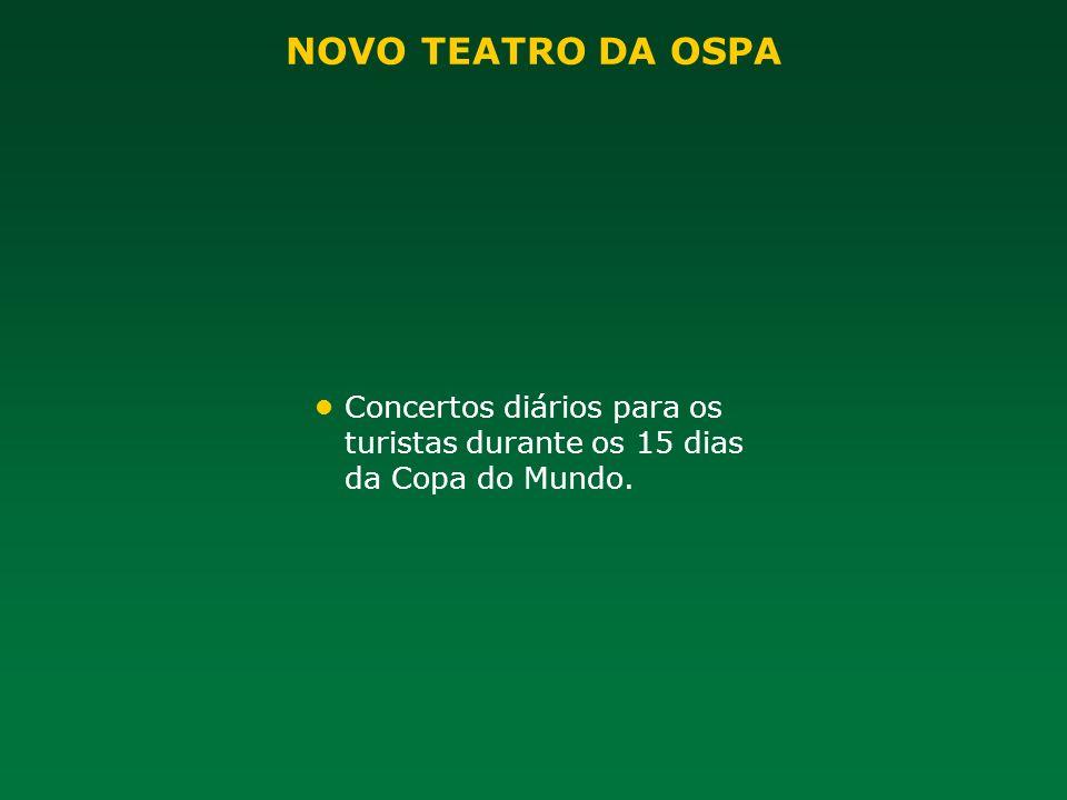 Concertos diários para os turistas durante os 15 dias da Copa do Mundo.