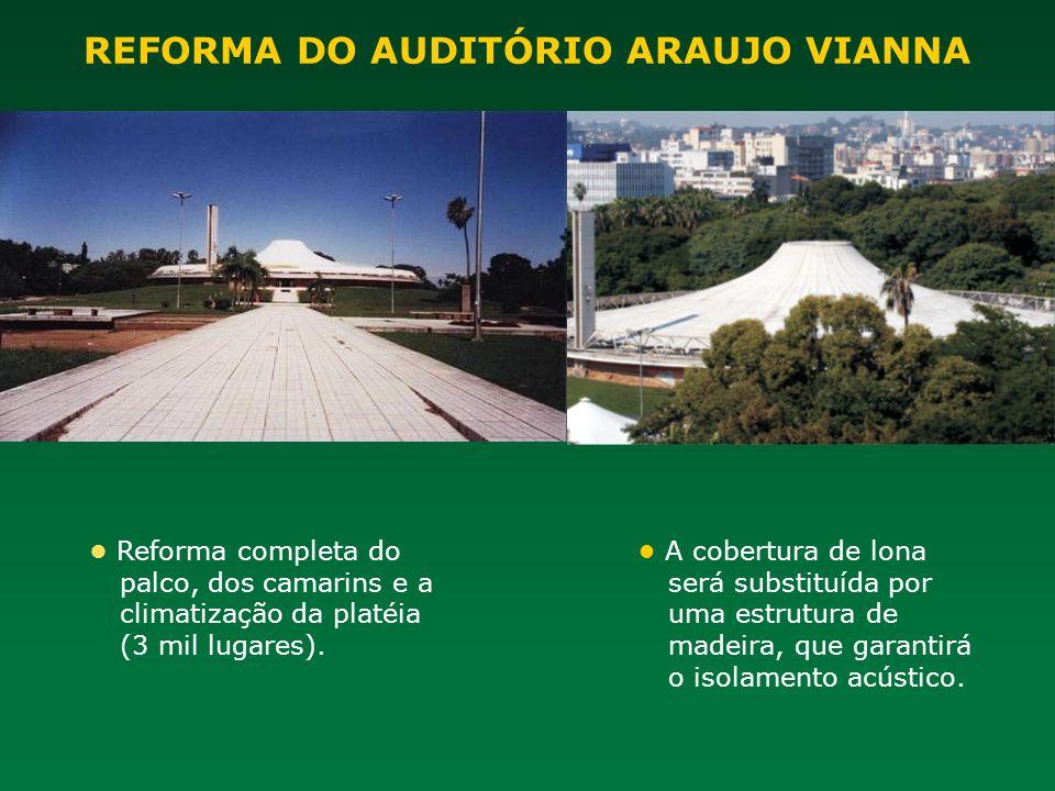 REFORMA DO AUDITÓRIO ARAUJO VIANNA Reforma completa do palco, dos camarins e a climatização da platéia (3 mil lugares). A cobertura de lona será subst