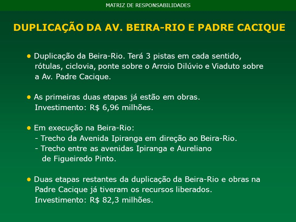 Duplicação da Beira-Rio. Terá 3 pistas em cada sentido, rótulas, ciclovia, ponte sobre o Arroio Dilúvio e Viaduto sobre a Av. Padre Cacique. As primei