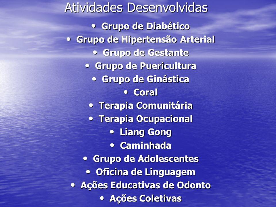Atividades Desenvolvidas Grupo de Diabético Grupo de Diabético Grupo de Hipertensão Arterial Grupo de Hipertensão Arterial Grupo de Gestante Grupo de