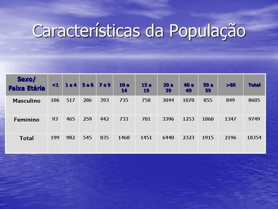 Características da População Sexo/ Faixa Etária <1 1 a 4 5 a 6 7 a 9 10 a 14 15 a 19 20 a 39 40 a 49 50 a 59 >60Total Masculino10651728639373575030441