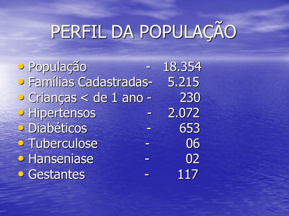 PERFIL DA POPULAÇÃO PERFIL DA POPULAÇÃO População - 18.354 População - 18.354 Famílias Cadastradas- 5.215 Famílias Cadastradas- 5.215 Crianças < de 1