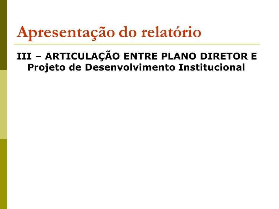 Apresentação do relatório III – ARTICULAÇÃO ENTRE PLANO DIRETOR E Projeto de Desenvolvimento Institucional