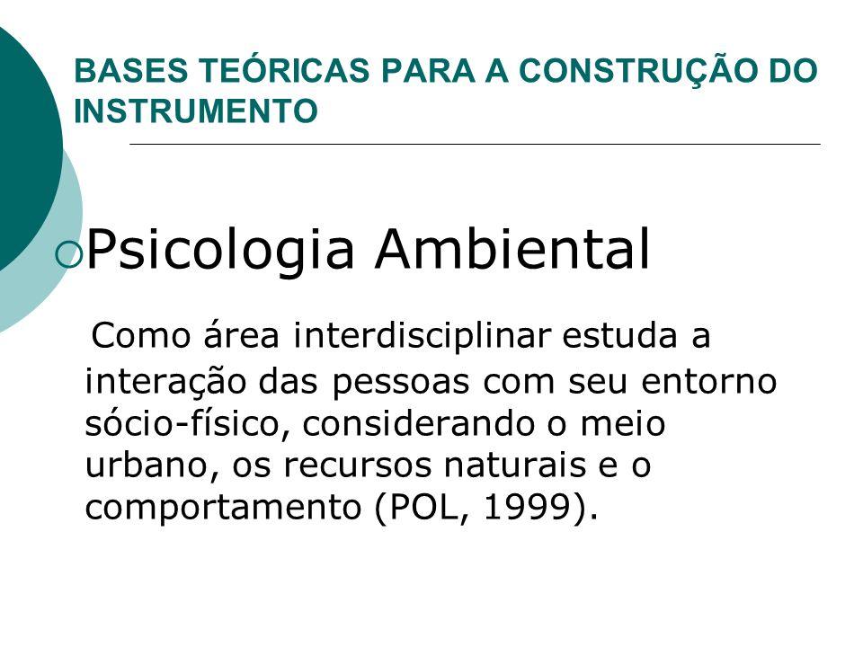 BASES TEÓRICAS PARA A CONSTRUÇÃO DO INSTRUMENTO Psicologia Ambiental Como área interdisciplinar estuda a interação das pessoas com seu entorno sócio-f