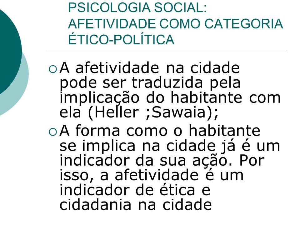 PSICOLOGIA SOCIAL: AFETIVIDADE COMO CATEGORIA ÉTICO-POLÍTICA A afetividade na cidade pode ser traduzida pela implicação do habitante com ela (Heller ;