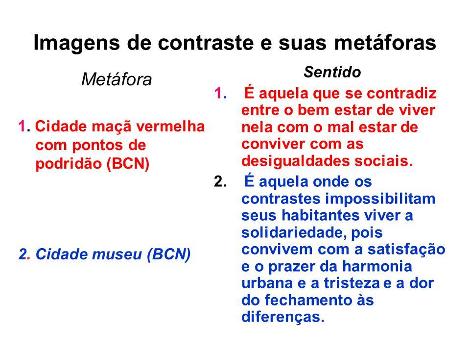 Imagens de contraste e suas metáforas Metáfora 1. Cidade maçã vermelha com pontos de podridão (BCN) 2. Cidade museu (BCN) Sentido 1. É aquela que se c