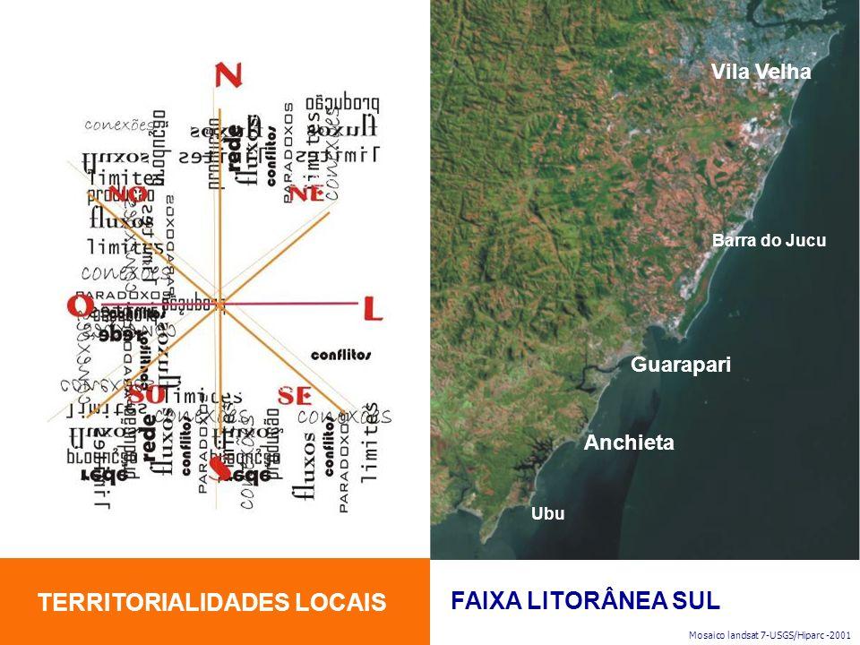 TERRITORIALIDADES LOCAIS FAIXA LITORÂNEA SUL Mosaico landsat 7-USGS/Hiparc -2001 Vila Velha Guarapari Anchieta Ubu Barra do Jucu
