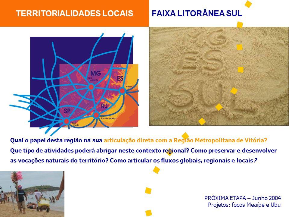 PRÓXIMA ETAPA – Junho 2004 Projetos: focos Meaípe e Ubu TERRITORIALIDADES LOCAISFAIXA LITORÂNEA SUL Qual o papel desta região na sua articulação diret