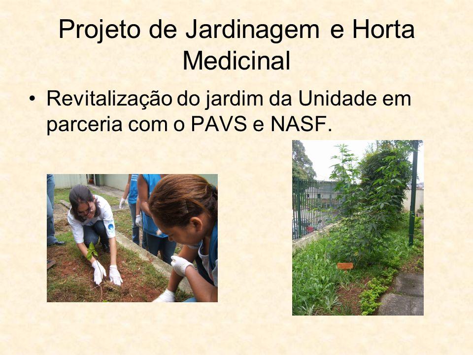 Projeto de Jardinagem e Horta Medicinal Revitalização do jardim da Unidade em parceria com o PAVS e NASF.