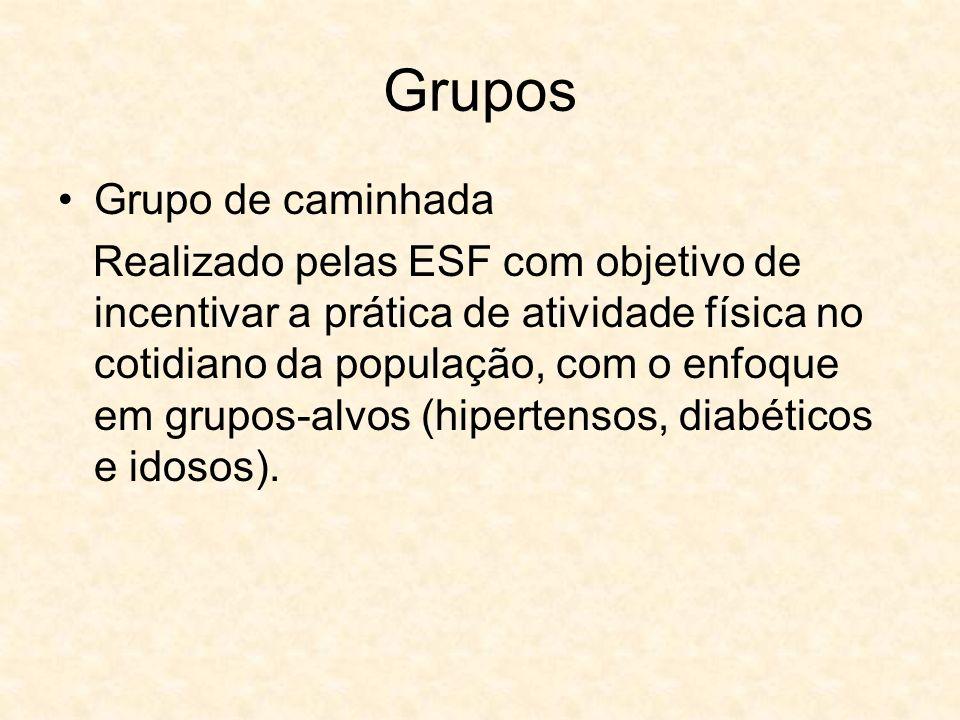 Grupos Grupo de caminhada Realizado pelas ESF com objetivo de incentivar a prática de atividade física no cotidiano da população, com o enfoque em gru