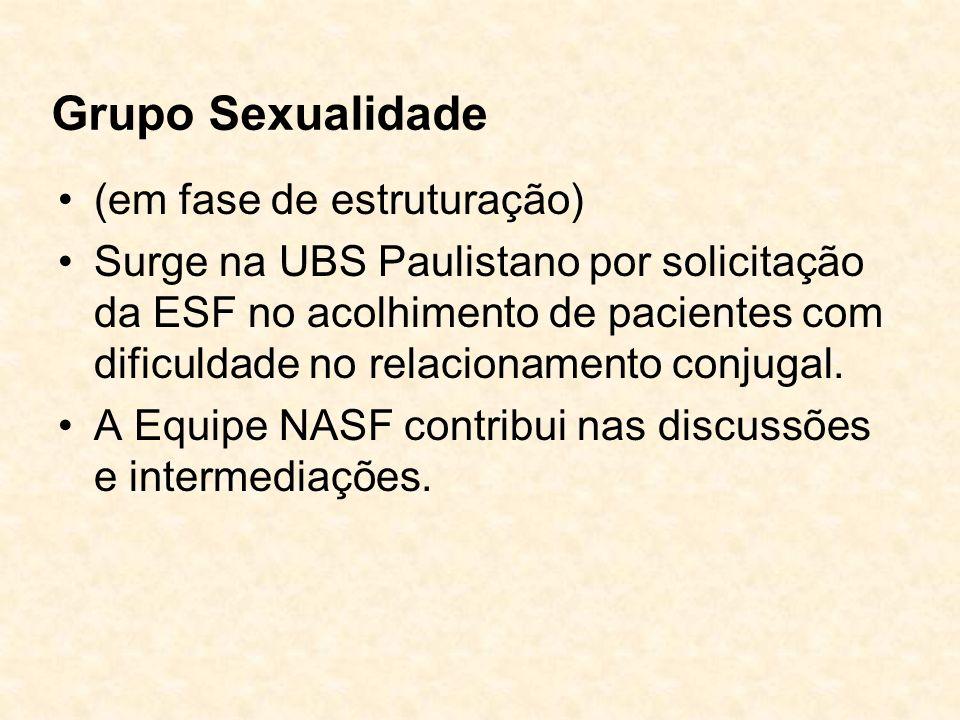 Grupo Sexualidade (em fase de estruturação) Surge na UBS Paulistano por solicitação da ESF no acolhimento de pacientes com dificuldade no relacionamen