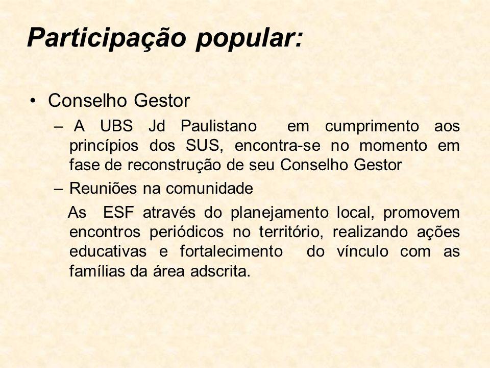 Participação popular: Conselho Gestor – A UBS Jd Paulistano em cumprimento aos princípios dos SUS, encontra-se no momento em fase de reconstrução de s