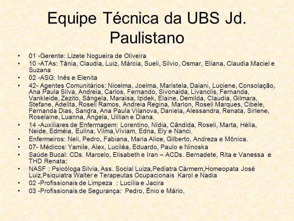 Equipe Técnica da UBS Jd. Paulistano 01 -Gerente: Lizete Nogueira de Oliveira 10 -ATAs: Tânia, Claudia, Luiz, Márcia, Sueli, Silvio, Osmar, Eliana, Cl