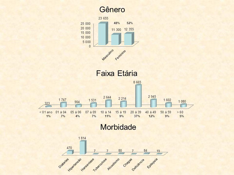 Gênero 48%52% Faixa Etária 1%7% 4%11%9%37%12%9%5% Morbidade
