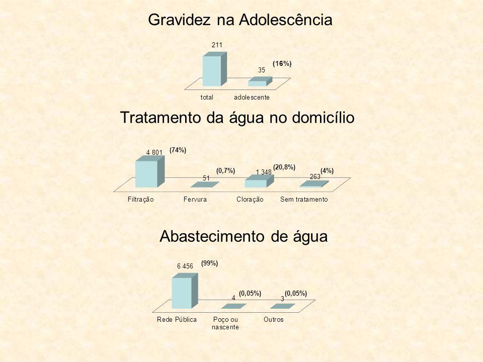 Gravidez na Adolescência (16%) Tratamento da água no domicílio (74%) (0,7%) (20,8%) (4%) Abastecimento de água (99%) (0,05%)
