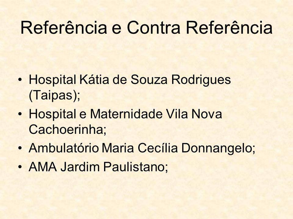 Referência e Contra Referência Hospital Kátia de Souza Rodrigues (Taipas); Hospital e Maternidade Vila Nova Cachoerinha; Ambulatório Maria Cecília Don