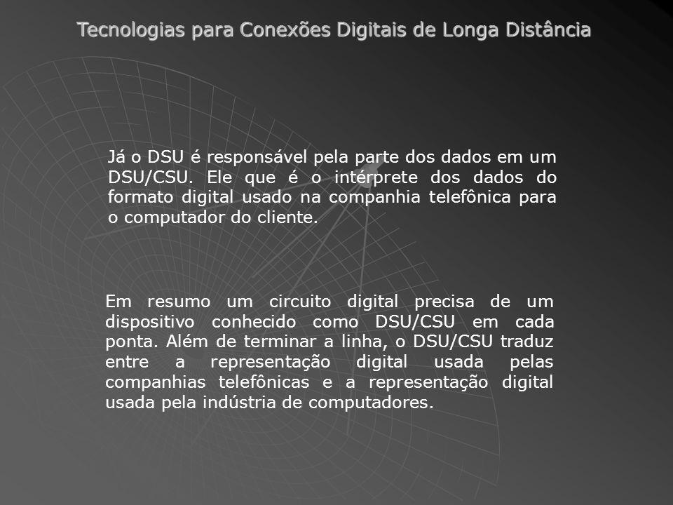 Tecnologias para Conexões Digitais de Longa Distância Já o DSU é responsável pela parte dos dados em um DSU/CSU. Ele que é o intérprete dos dados do f